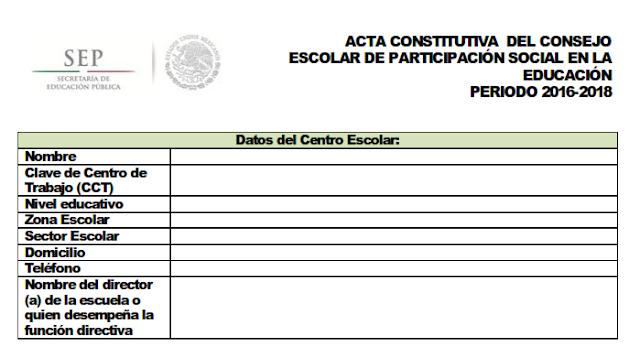 ACTA CONSTITUTIVA DEL CONSEJO ESCOLAR DE PARTICIPACIÓN SOCIAL EN LA REGISTRO PÚBLICO DE LOS CONSEJOS DE PARTICIPACIÓN SOCIAL EN LA EDUCACIÓN EDUCACIÓN PERIODO 2016-2018