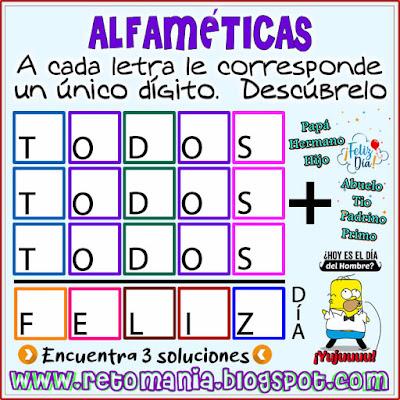 Alfaméticas, Criptoaritméticas, Día del Hombre, Día de San José, Juego de Letras, Juego de Palabras, Suma de Palabras