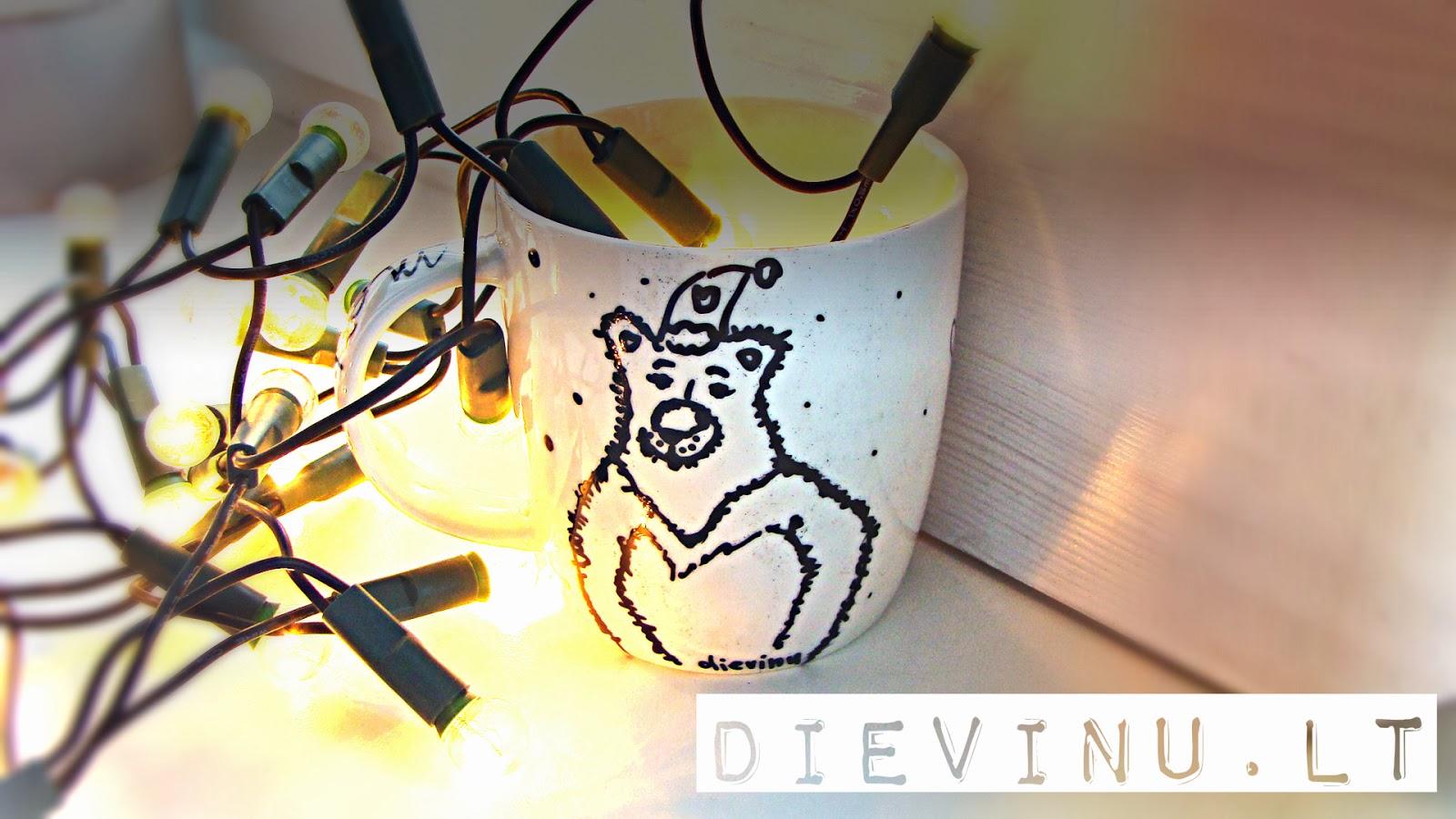 dekoruotas puodelis su meška ir užrašu