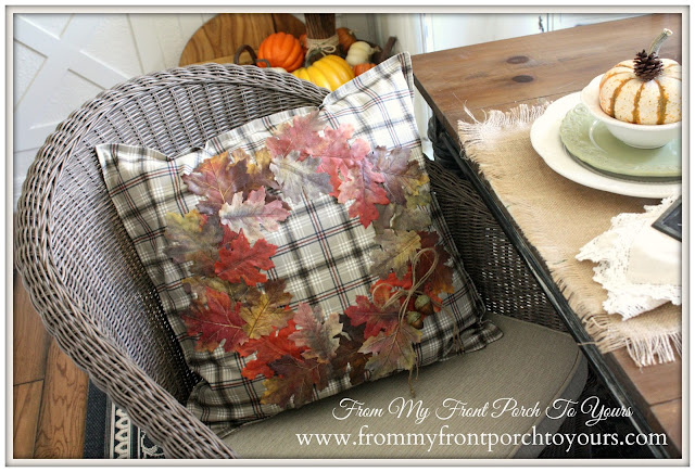 DIY- Fall -Leaf -Pillow -Cover-Fall-Decor-Tutorial-No Sew-French Country-From My Front Porch To Yours