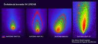 Zestawienie morfologii komety C/1999 S4 (LINEAR) z lipca 2000 roku, kiedy z biegiem dni jądro stawało się coraz bardziej rozciągnięte, a obiekt tracił na jasności doświadczając ostatecznej fragmentacji. Credit: Eric Allen.