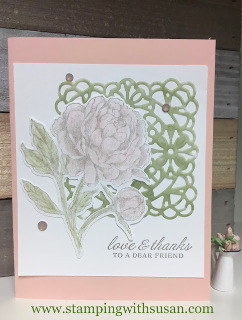 Stampin' Up!, Peony Garden Suite, Square Vellum Doilies, www.stampingwithsusan.com, Elegant Faceted Gems,