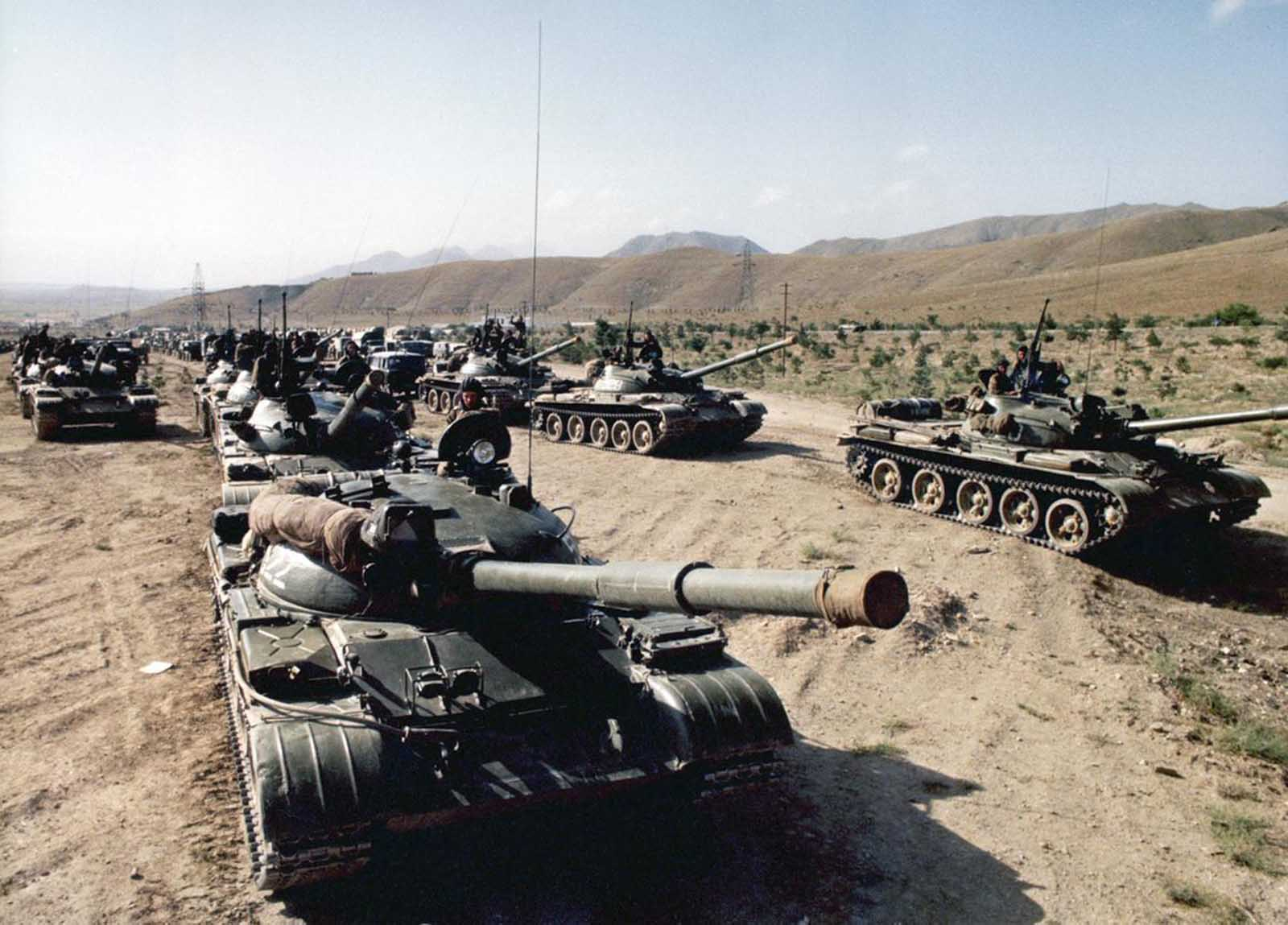 Soviet troops on the move in Afghanistan, mid-1980s.