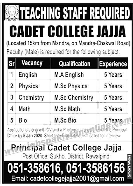 Teaching Jobs in Cadet College Jajja, Rawalpindi