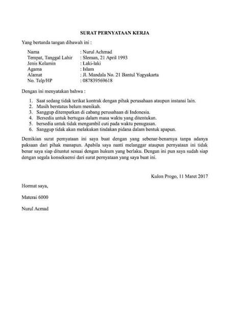 Contoh Surat Pernyataan untuk Berbagai Urusan (via: finansialku.com)