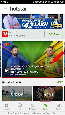Free live Cricket match on hotstar