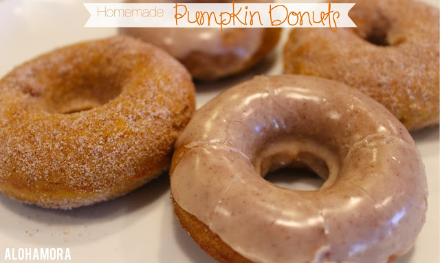 Homemade Baked Pumpkin Doughnuts/Donuts... easy to make, perfect pumpkin flavor, and delicious.  These donuts were big hits at a baby shower, and my husband and kids LOVED them.  Cinnamon sugar or maple cinnamon glazed/frosted donuts.  Alohamora Open a Book http://alohamoraopenabook.blogspot.com/ easy, dessert, recipe, breakfast, Fall, Halloweenn, Thanksgiving, treat