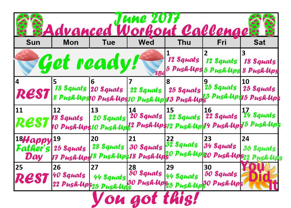 Calendar Challenge : June fitness calendars exercise challenges