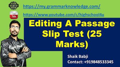 Editing A Passage Slip Test