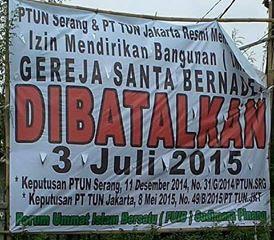 PTUN Batalkan IMB Gereja St Bernadet, Umat Dipaksa Pindah