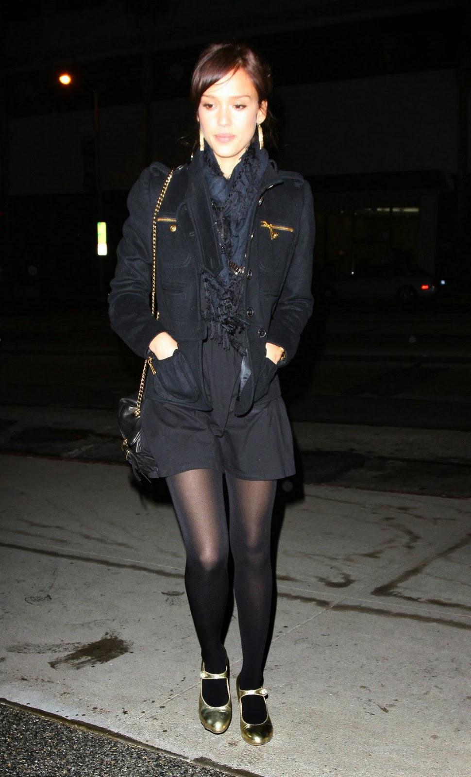 Jessica alba wearing pantyhose