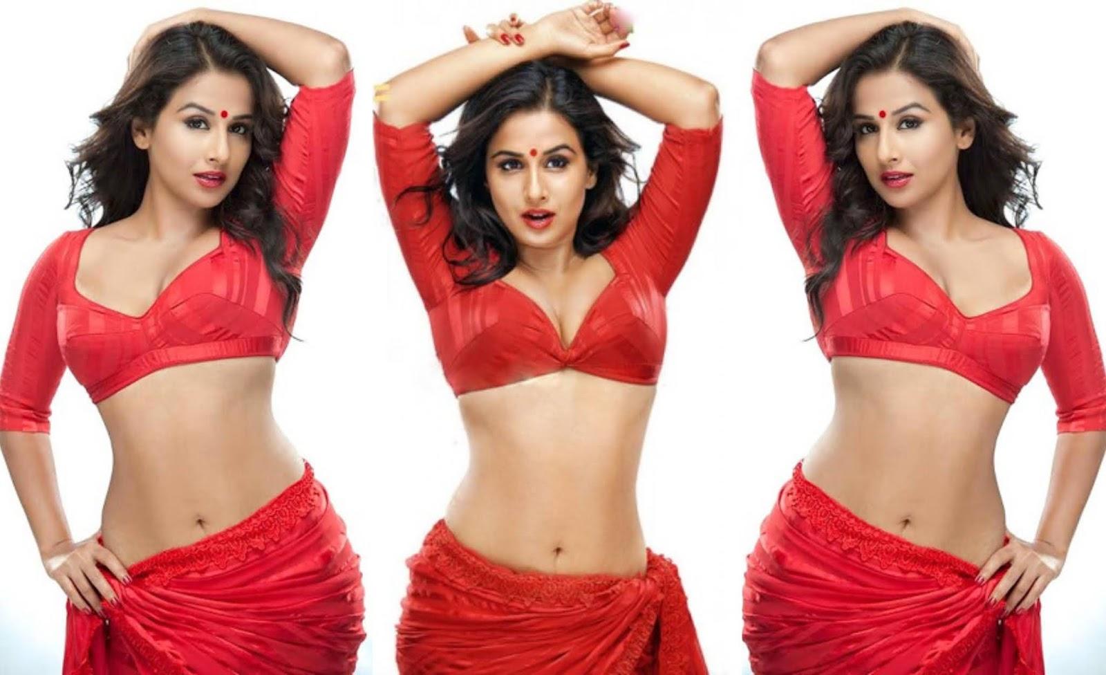 Beautiful Indian Model Vidya Balan PhotoShoot In Red Designer Saree