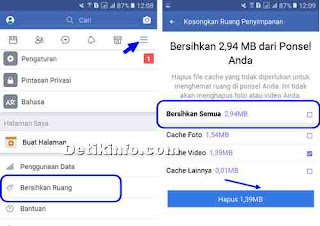 clear cache di FB LITE