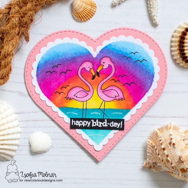 Happy Bird-Day Card by Zsofia Molnar | Flirty Flamingos Stamp Set by Newton's Nook Designs #newtonsnook #handmade