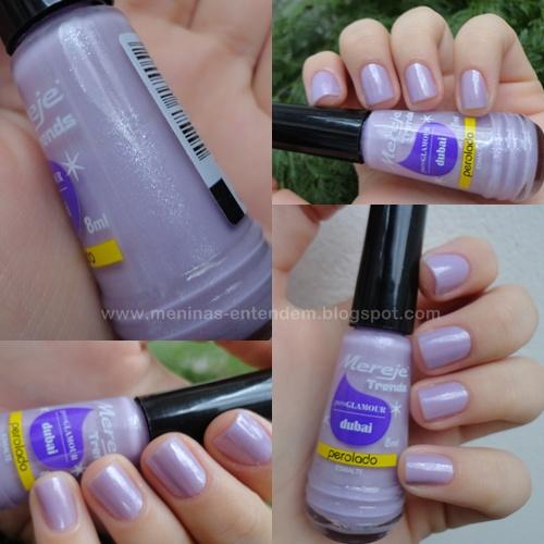 Esmalte lilás com micro brilhos
