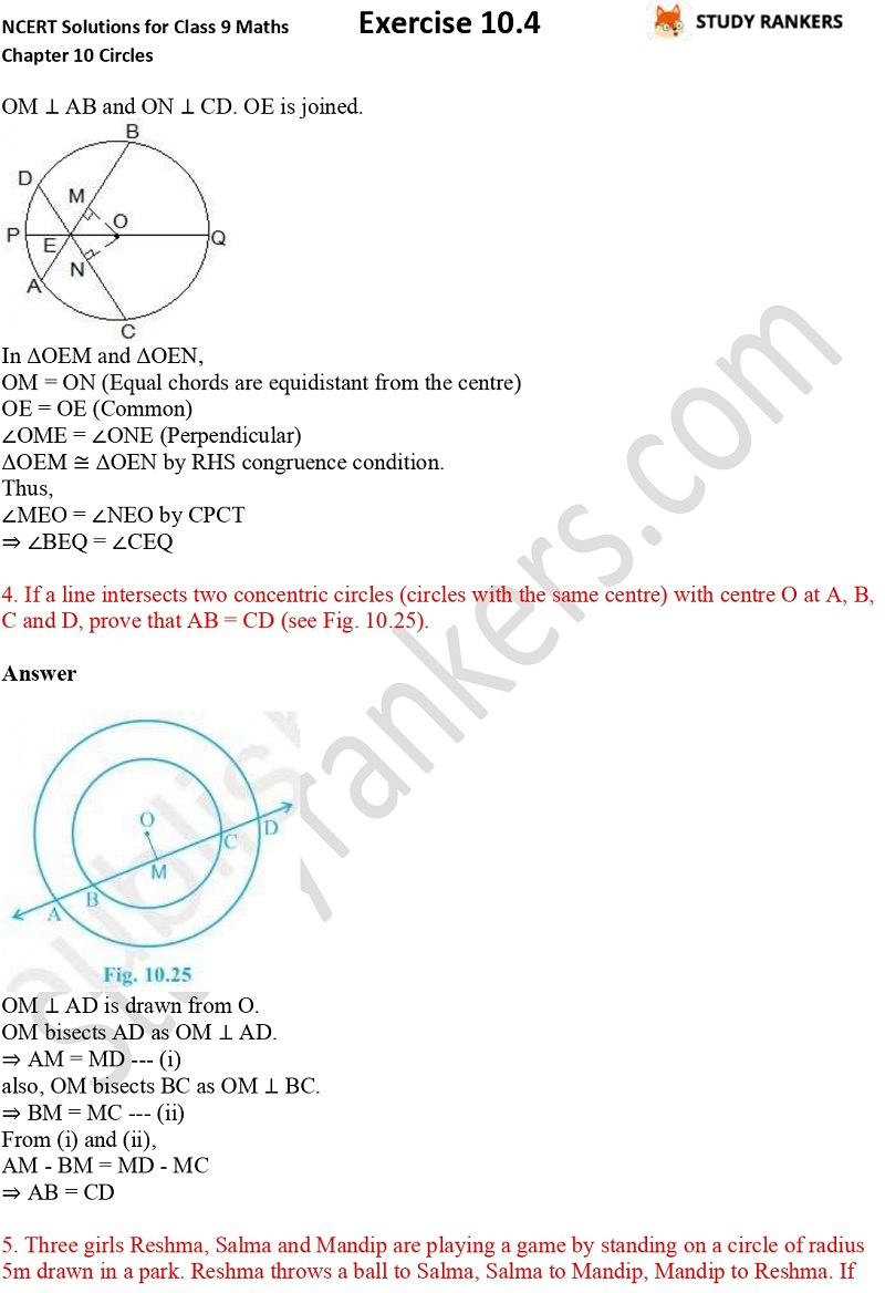 NCERT Solutions for Class 9 Maths Chapter 10 Circles Exercise 10.4 Part 3