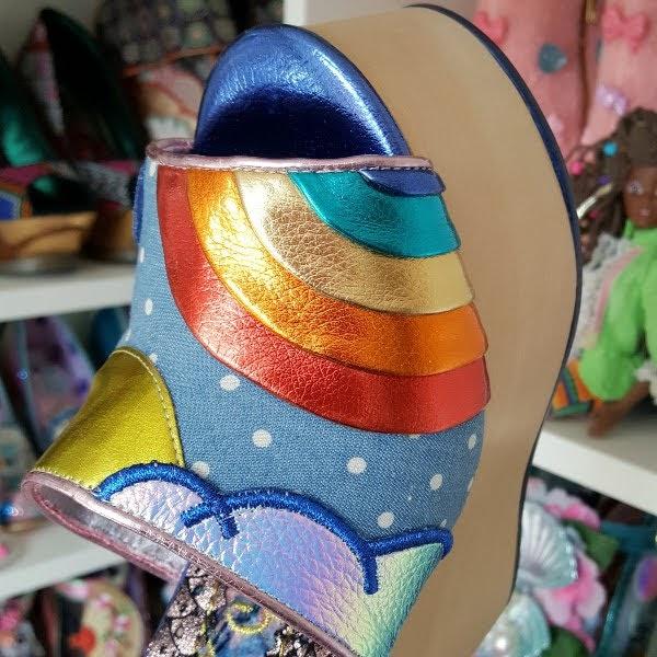 metallic layered rainbow applique on front of shoe