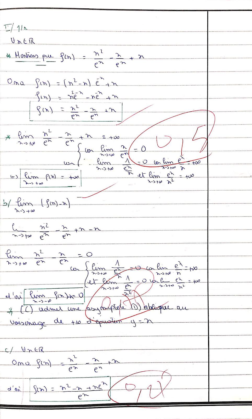Copie exemplaire 20 sur 20 en maths Examen national bac 2018 science x