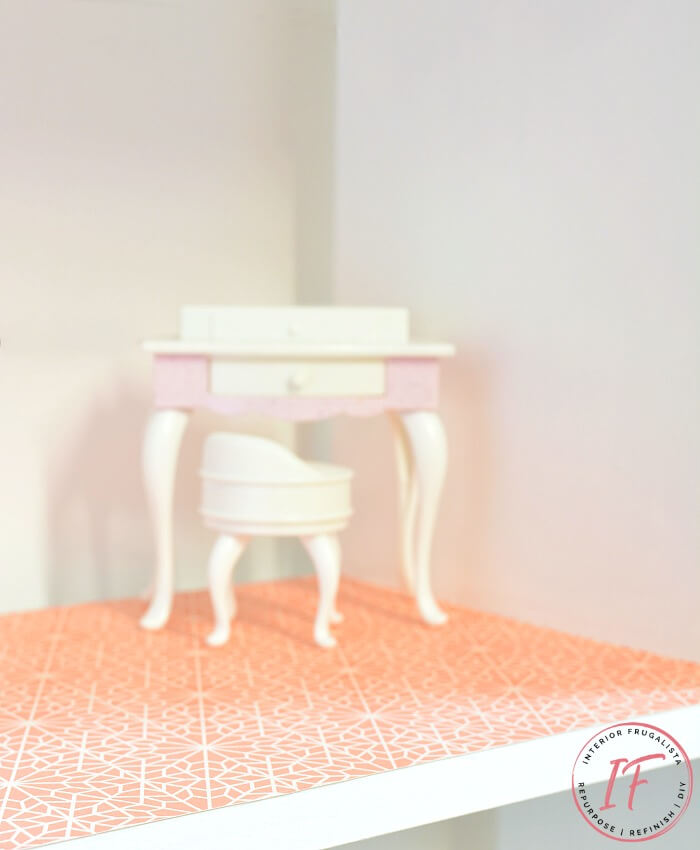 Dollhouse Bookcase Papered Floor
