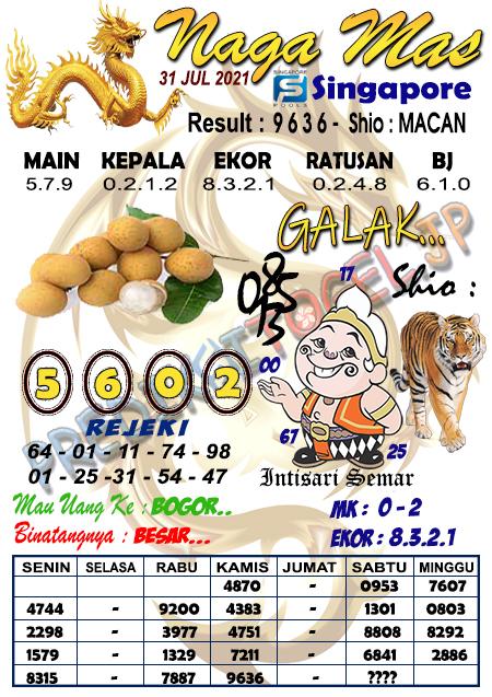 Syair Naga Mas SGP Sabtu 31 Juli 2021
