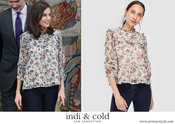 Queen Letizia wore Indi and Cold floral print blouse with French sleeves