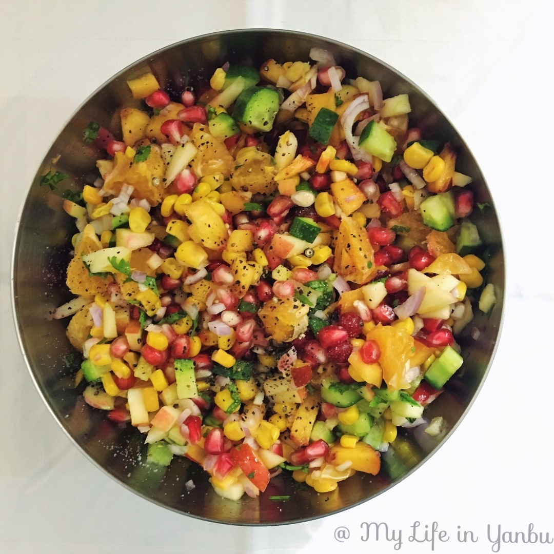 Mixed Fruit and Sweetcorn Salad with Dukkah