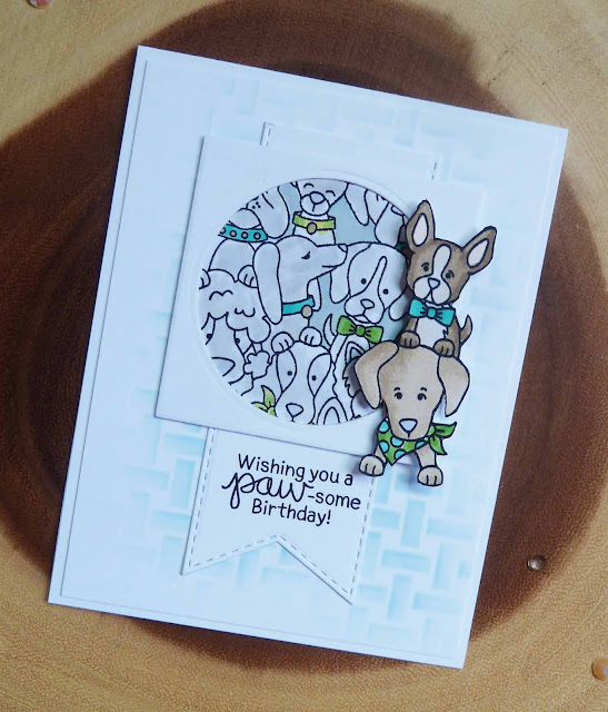 Wishing you a paw-some birthday by Joyce features Woof Pack and Basketweave by Newton's Nook Designs; #inkypaws, #newtonsnook, #cardmaking