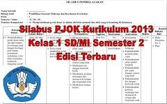 Silabus PJOK Kurikulum 2013 Kelas 1 SD/MI Semester 2 Edisi Terbaru