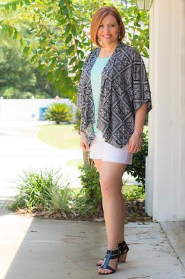 kimono with white shorts