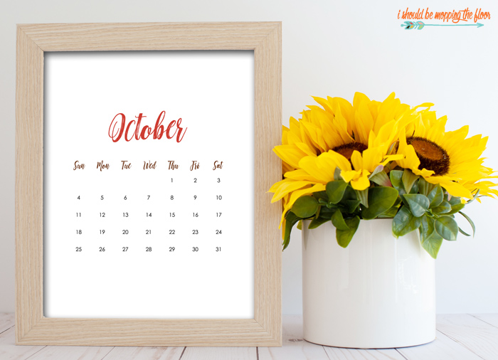 Blank October Calendar Printables