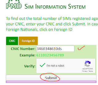 online check sims through cnic
