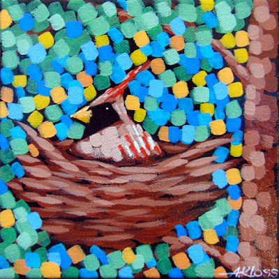 Cardinal Nest painting by artist aaron kloss, cardinal painting, songbird painting, pointillism, duluth mn painter, dululth artist, minnesota landscape painting