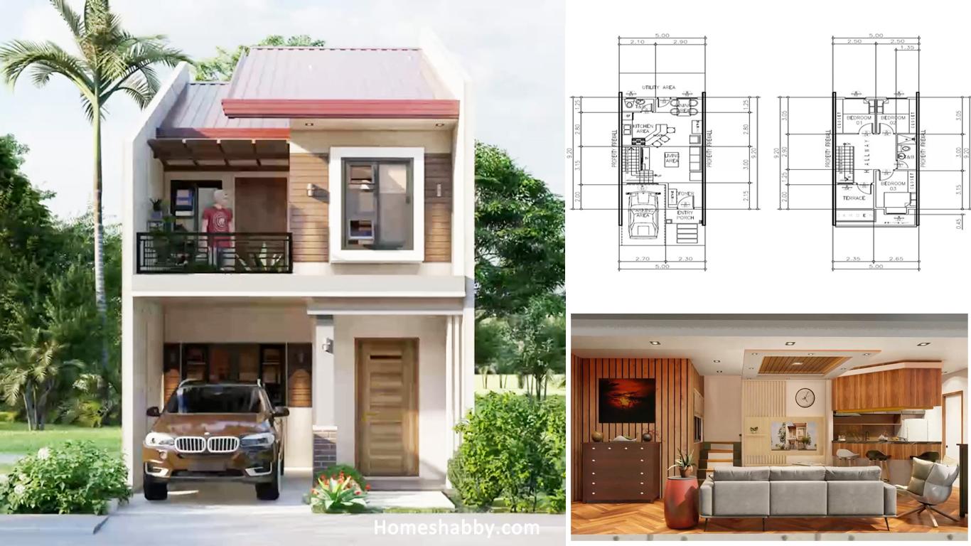 Desain Dan Denah Rumah 2 Lantai Mungil Tapi Tampil Modern Ukuran 5 X 9 2 M Homeshabby Com Design Home Plans Home Decorating And Interior Design