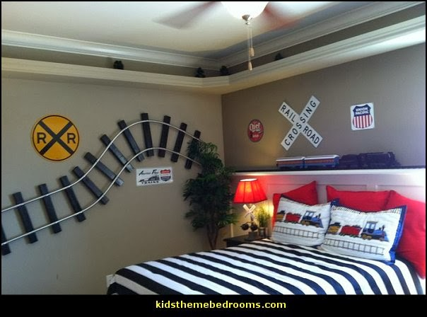 Train themed bedroom decorating ideas - boys bedroom train theme decor  - train themed beds - train themed furniture - train theme bedding - train theme decorations - Thomas the tank bedroom - Thomas the tank theme bed - old world train themed bedroom - vintage style trains wall murals - choo choo trains wall decal stickers - Train Theme furniture