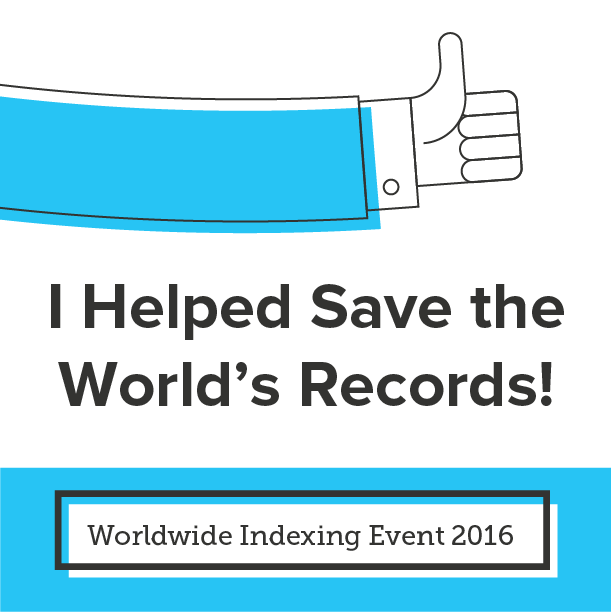 2016 Worldwide Indexing Event