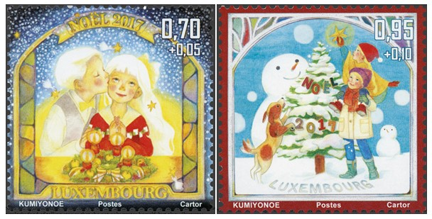 christmas 2017 stamps from luxembourg