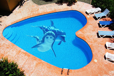 swimming pool design with 3d flooring dolphin paint