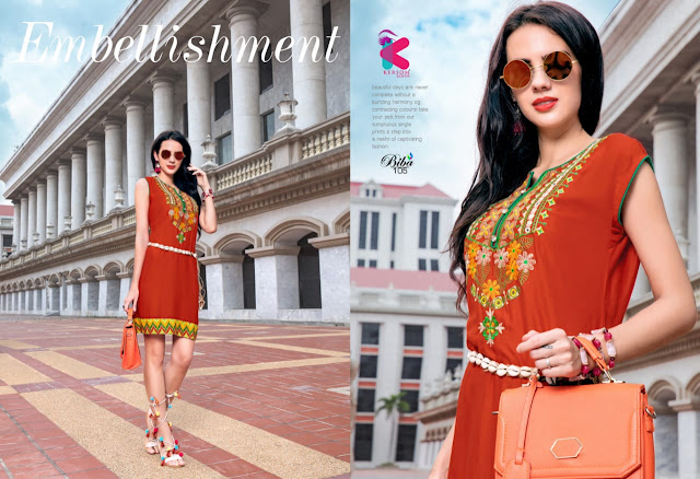 Kersom Biba Party wear Embroidered kurtis Manufacture