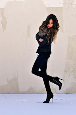 Botas de moda negras de Invierno