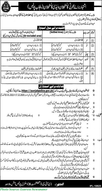 Punjab Police Constable and Lady Constable Jobs December 2020 Download Application form for Punjab Police Jobs 2020