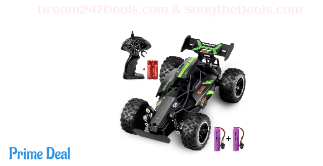 25%OFF Outerman RC Car 1:18 Scale 2.4Ghz Remote Control Trucks, 15-20 km/h High Speed Racing Car with 2 Rechargeable Lithium Ion Batteries, Electric Toy Car for All Adults & Kids (Black+Green)