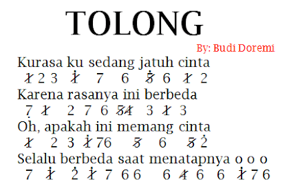 Not Angka Pianika Lagu Tolong - Budi Doremi