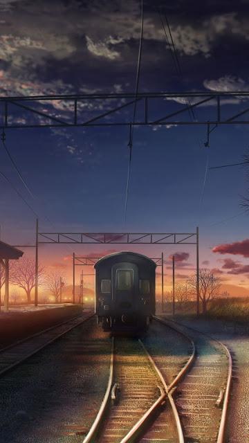 Anime, Trem, Trilho, Parada, Arte