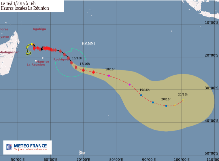 Le cyclone  tropical intense Bansi s'éloigne de Rodrigues