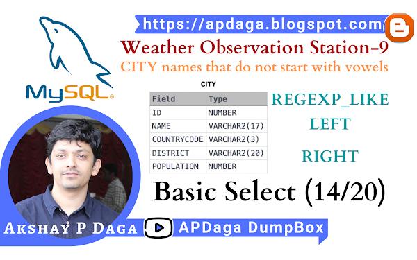 HackerRank: [Basic Select - 14/20] Weather Observation Station-9 | REGEXP_LIKE, LEFT function in SQL
