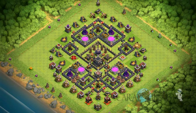 Base Farming TH 9 COC Update Bomb Tower Terbaru 2017 Tipe 5