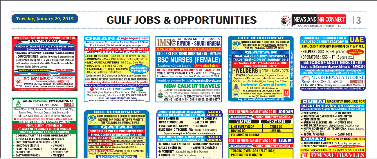News and Nri connect Gulf Paper 30 January 2019