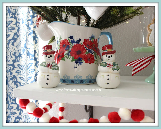 Breakfast -Nook -Christmas -Decor-Salt & Pepper-Shakers-Snowman-Vintage-Cottage-Farmhouse-From My Front Porch To Yours