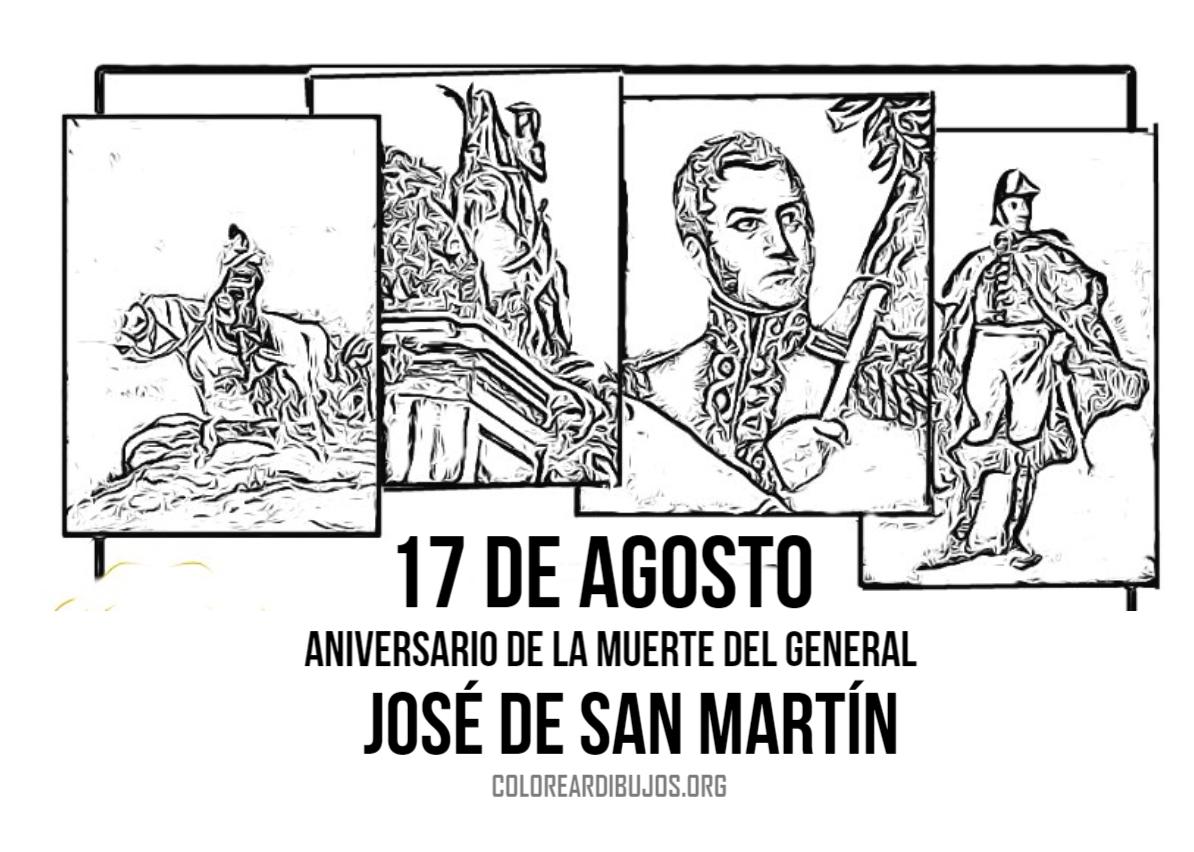 17 de agosto dibujo de la muerte dek General San Martin