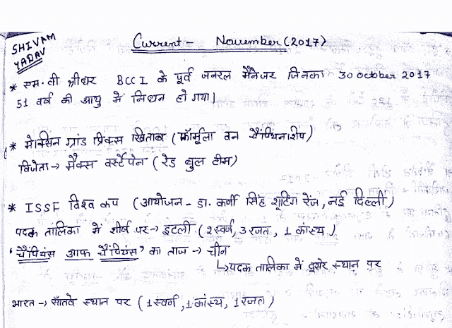 Current Affairs November 2017 Handwritten Notes Hindi PDF Download